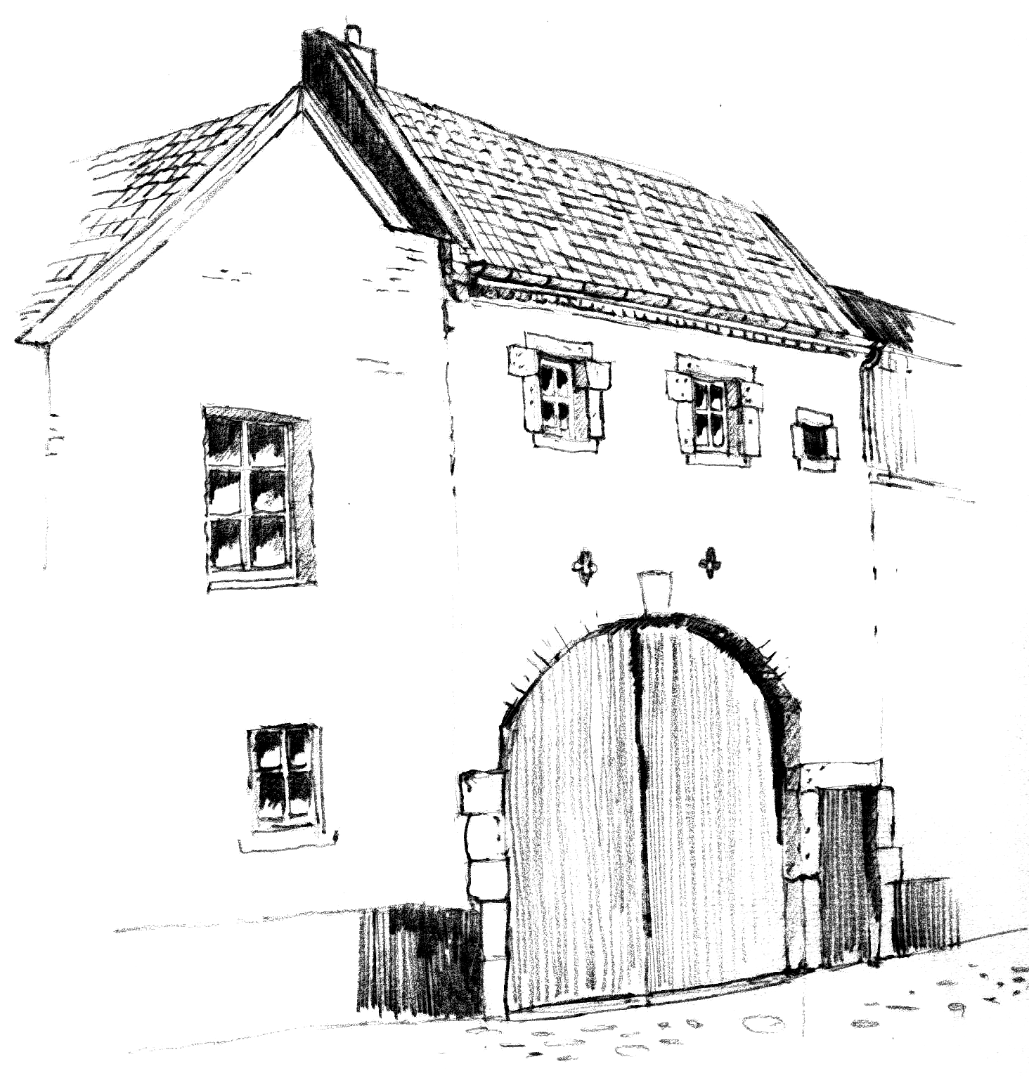 Drawing in black and white of Onder de Poort